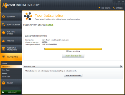 License Key Avast!  Internet Security 7.0.1474 Kendali
